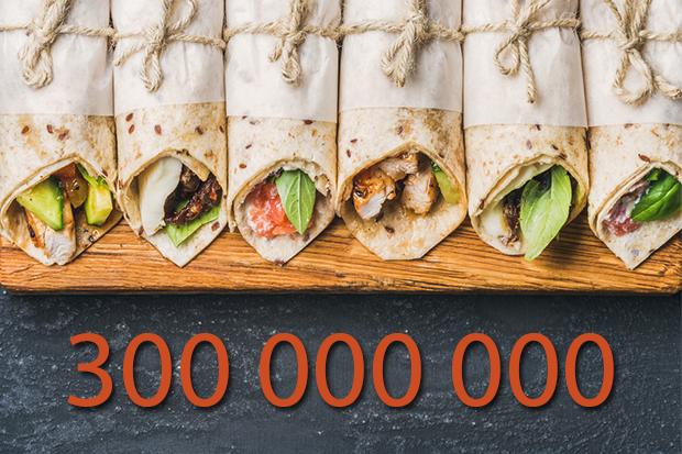 Günə 300 000 000 tortilla (lavaş)