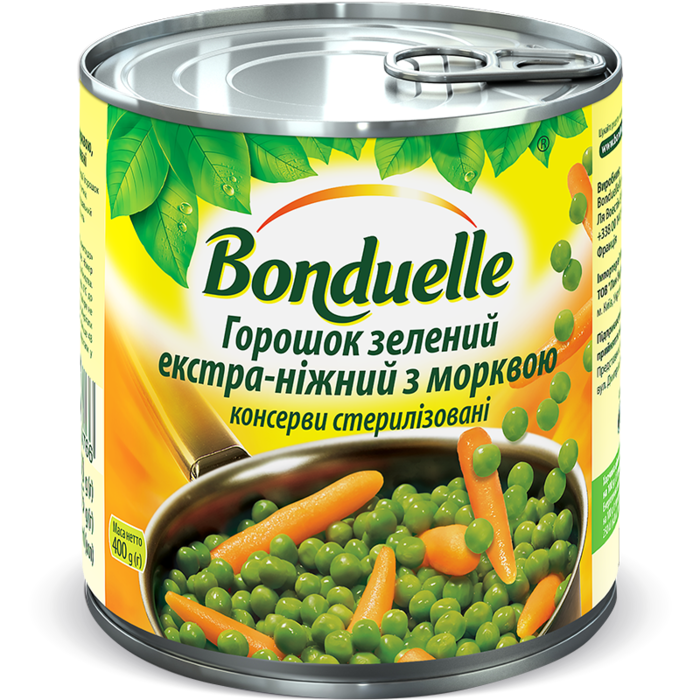 Горошок зелений екстра-ніжний з морквою