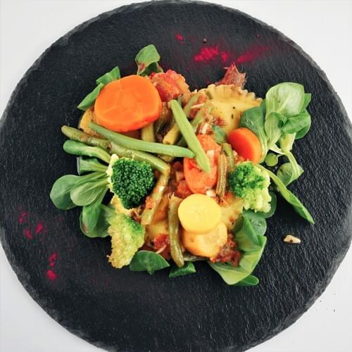 Равиоли с пролетни зеленчуци и сирене
