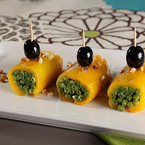 Ρολάκια πιπεριάς με φασολάκια