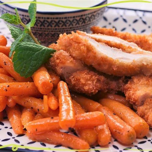 ΛΑΧΑΝΙSTAS Τραγανό σνίτσελ κοτόπουλο  με καρότα baby