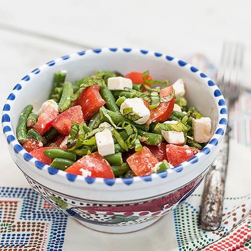 Πράσινα φασόλια με ντομάτα και φέτα