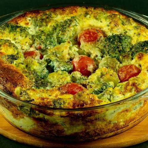 Clafoutis cu broccoli și roșii cherry