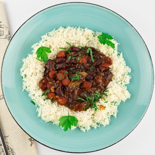 Рис с красной фасолью в соусе